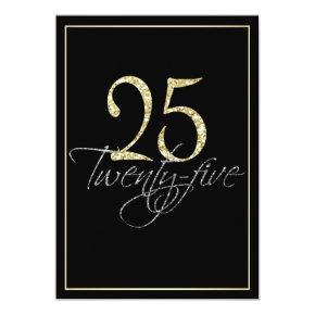 Formal Silver Black and Gold 25th Birthday Party Card