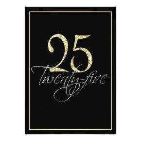 Formal Silver Black and Gold 25th Birthday Party Invitations