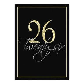 Formal Silver Black and Gold 26th Birthday Party Invitations