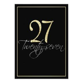 Formal Silver Black and Gold 27th Birthday Party Invitations