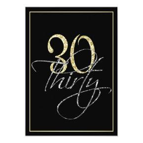 Formal Silver Black and Gold 30th Birthday Party Invitations