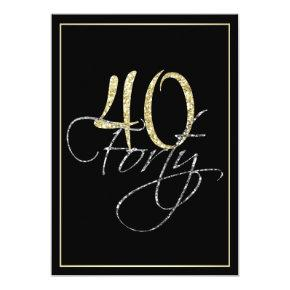 Formal Silver Black and Gold 40th Birthday Party Invitations