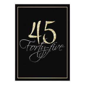 Formal Silver Black and Gold 45th Birthday Party Invitations