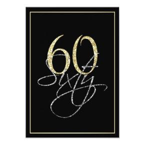 Formal Silver Black and Gold 60th Birthday Party Invitation