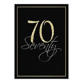 Formal Silver Black and Gold 70th Birthday Party Card