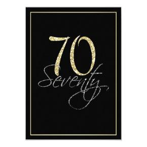 Formal Silver Black and Gold 70th Birthday Party Invitation