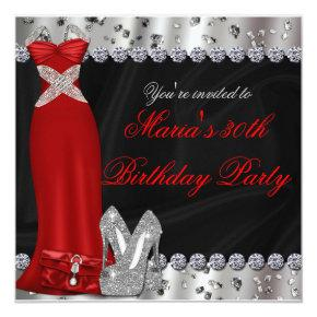 Formal Silver Red Gown & Heels Party Invitations