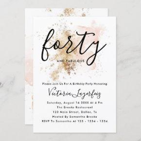 Forty 40th Birthday Invitation For Woman
