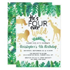 Four Ever Wild Boys 4th Birthday Party Invitation