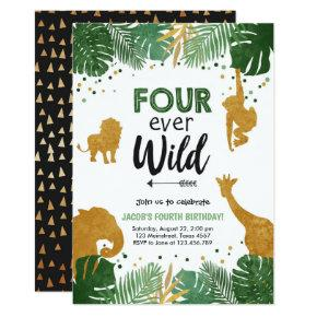 Four Ever Wild Safari Animal Boy Birthday Invitation