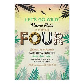 FOUR Jungle 4TH Birthday Party Safari ZOO Invite