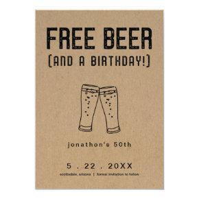 Free Beer Funny Birthday Save the Date