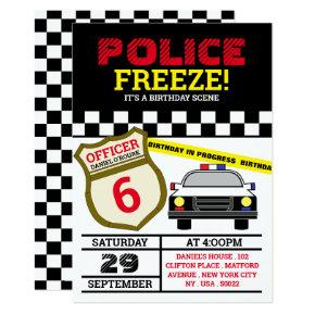 Freeze! Police Officer Birthday Party Invitation