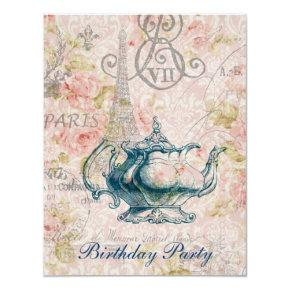 french country garden birthday tea party card