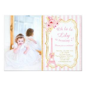 French Paris Birthday Invitations for Girl