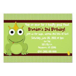 Frog Prince Boys Birthday Invitation