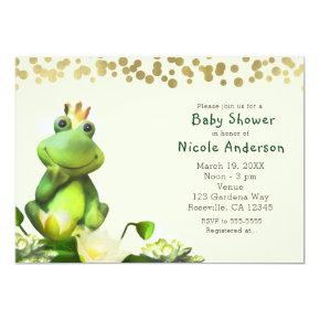 Frog Prince Green & Gold Baby Shower Invitations