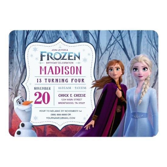 Frozen 2 - Anna, Elsa & Olaf Birthday Party Invitation
