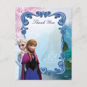 Frozen Anna and Elsa Birthday Thank You Note Invitations