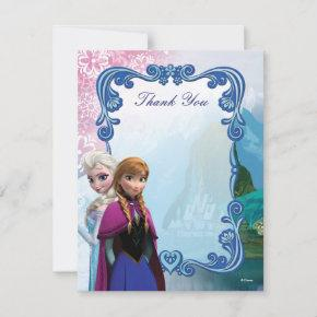 Frozen Anna and Elsa Birthday Thank You Note
