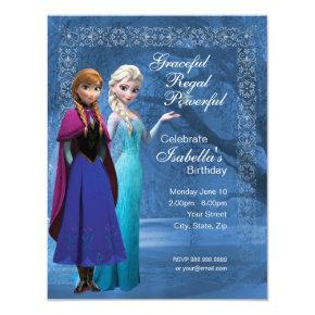Frozen Anna and Elsa Snowflake Birthday Invitations