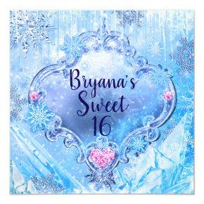 Frozen Ice & Snowflakes Winter Wonderland Party Invitations