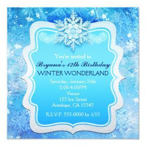 Frozen Ice Winter Wonderland Snowflake Invitations