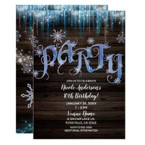 Frozen Icicles Winter Wonderland Birthday PARTY Invitations