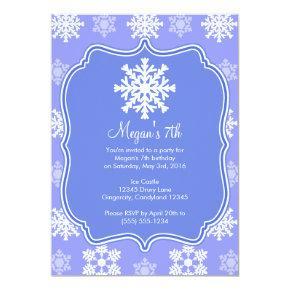 Frozen Snowflake Winter Snowman Birthday Invitation