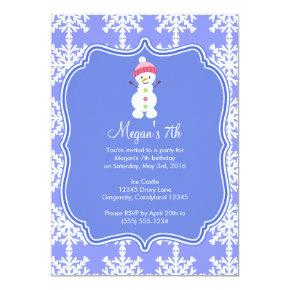 Frozen Snowflake Winter Snowman Birthday Invitations