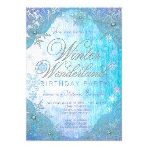 Frozen Snowflake Winter Wonderland Birthday Party Invitations