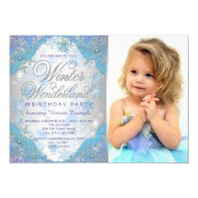 Frozen Snowflakes Winter Wonderland Birthday Party Invitation