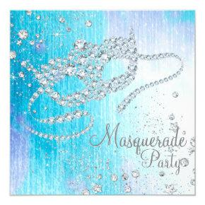 Frozen Winter Wonderland Diamond Masquerade Party Invitations