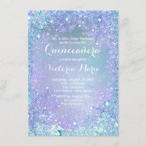 Frozen Winter Wonderland Pruple Teal Quinceanera Invitation