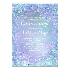 Frozen Winter Wonderland Pruple Teal Quinceanera Invitation