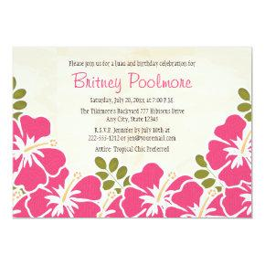 Fuchsia Hibiscus Hawaiian Birthday Party Invitations