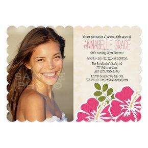 Fuchsia Hibiscus Hawaiian Luau Sweet 16 Photo Invitations