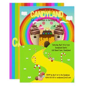 Fun and Bright Cartoon Candyland Party Invitation