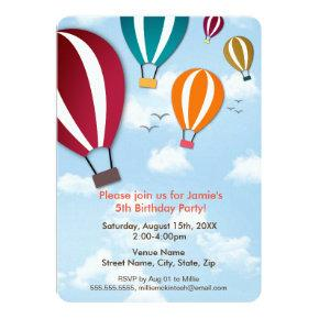 Fun and Cool Hot Air Balloons | Birthday Invitation