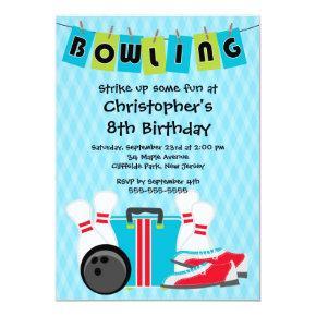 Fun Bowling Boys Birthday Party Invitations