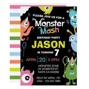 Fun Bright Monster Mash Birthday Party Invitation