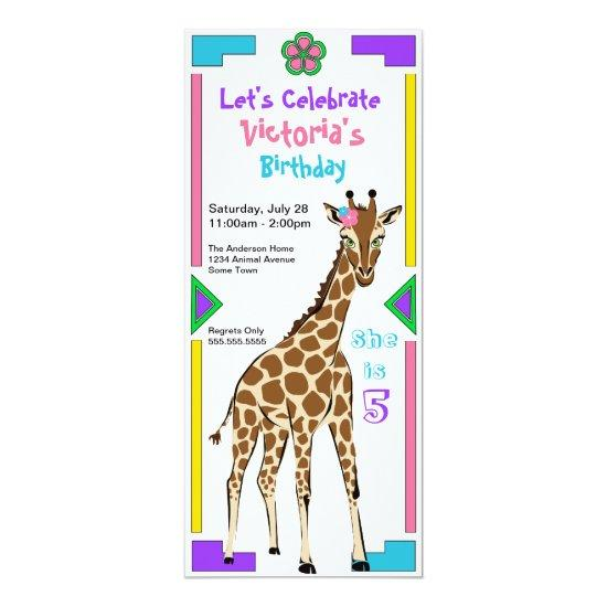 fun colorful african design girl giraffe birthday invitations