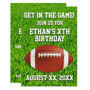 Fun Custom Football Birthday Party Invitation