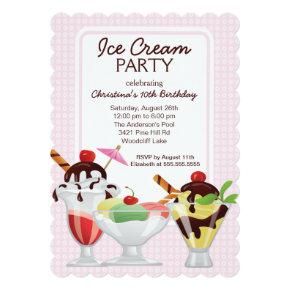 Fun Cute Ice Cream Sundae Birthday Party Invitation