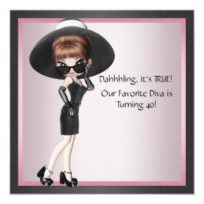 Fun Favorite Diva Womans Pink Black 40th Birthday Invitation