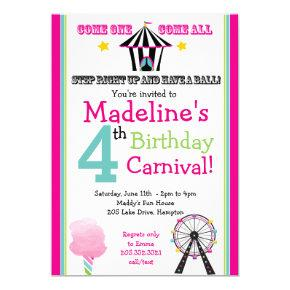 Fun & Games Girl's Carnival Party Invitation