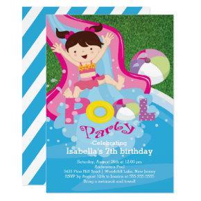 Fun Girl Pool Birthday Party Invitation