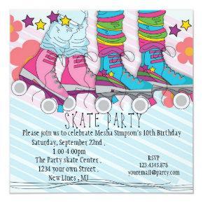Fun girls Roller Skating birthday party invitation