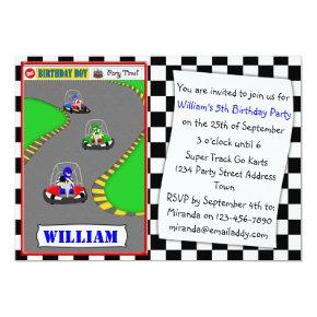 Fun Go Kart Racing Birthday Party Invitations