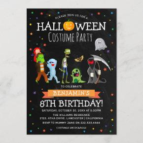 Fun Halloween Kids Costume Birthday Party Invitation